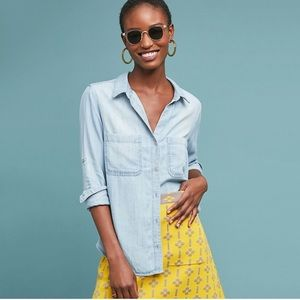 NEW Cloth & Stone Tencel Chambray Button Down Top
